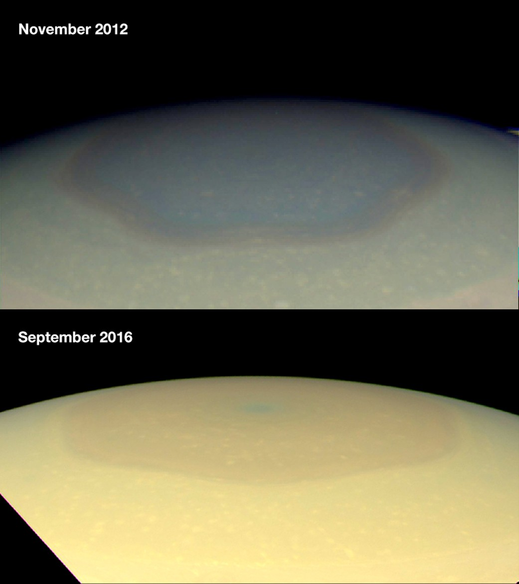Astronomers Investigate Color Changes in Saturn's Atmospheric Hexagon